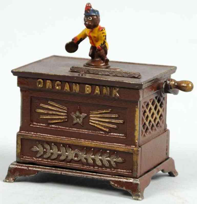 kyser & rex spielzeug gusseisen spardose miniatur orgelbank mit affe