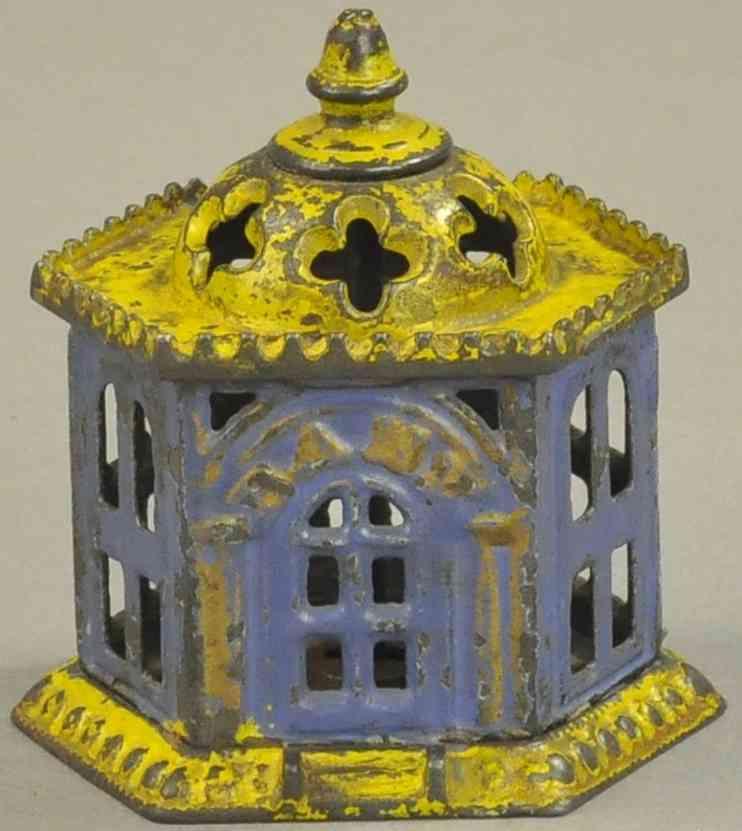 kyser & rex spielzeug gusseisen pavillon als spardose blau gelb