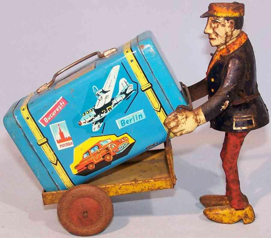levy george gely blech spielzeug spardose gepaeckträger karre koffer uhrwerk
