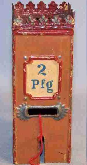 maerklin blech spielzeug spardose 2-pfennig automat handlackiert