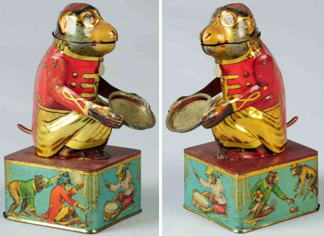 maienthau & wolf tin toy mechanical bank monkey with tray