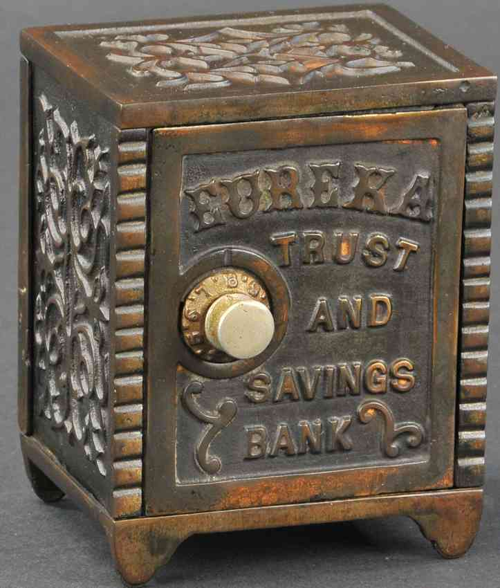 cast iron toy eureka safe bank copper flashed