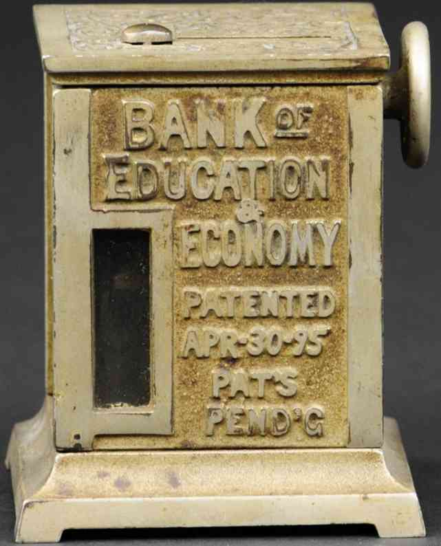 proctor-raymond cocast iron toy mechanical bank of education and economy