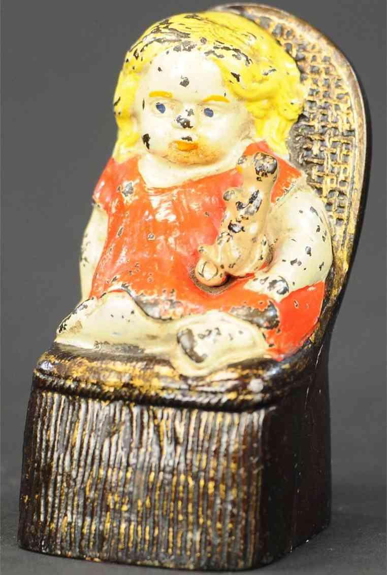 reed toy co gusseisen maedchen welpe stuhl spardose