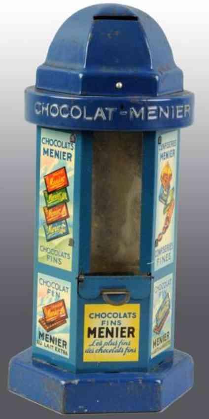 revon & co menier blech spielzeug spardose schokoladenautomat blau