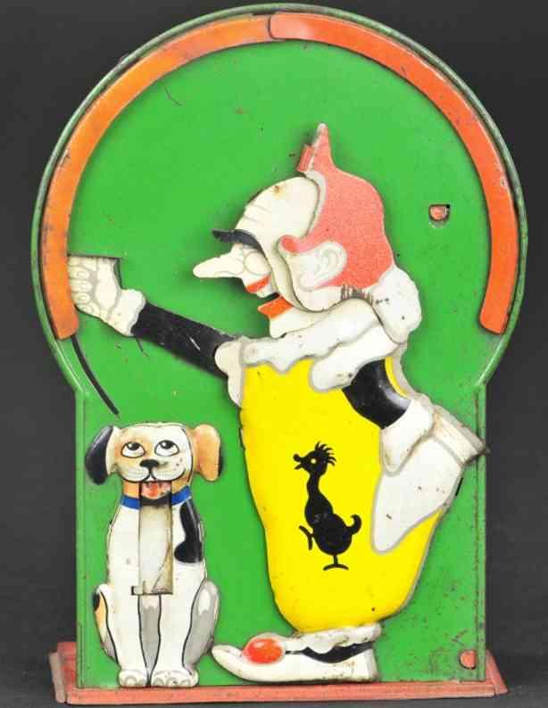 saalheimer & strauss blech spielzeug clown und hund als spardose