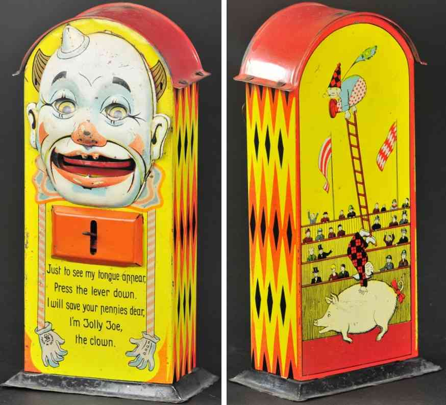 saalheimer & strauss blech spielzeug jollly joe clown als spardose
