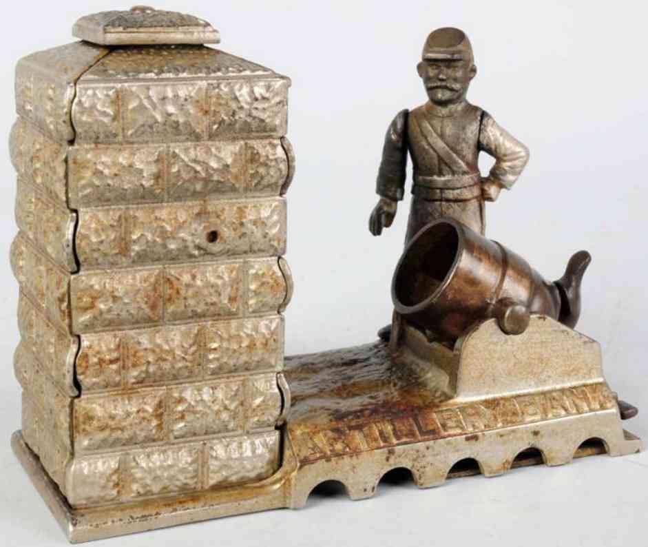 shepard hardware co cast iron toy still bank nicek plated artillery mechanical bank