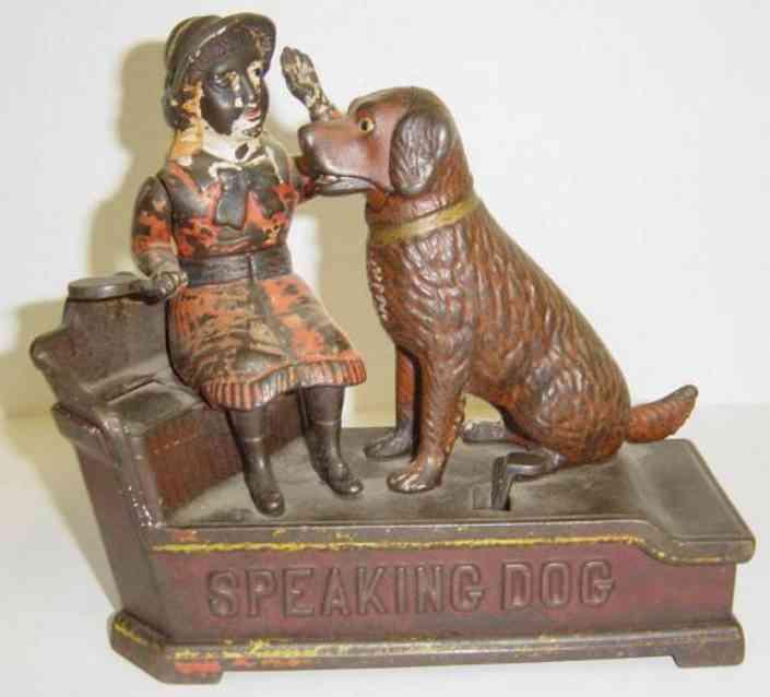 shepard hardware co gusseisen spardose sprechender hund mit frau