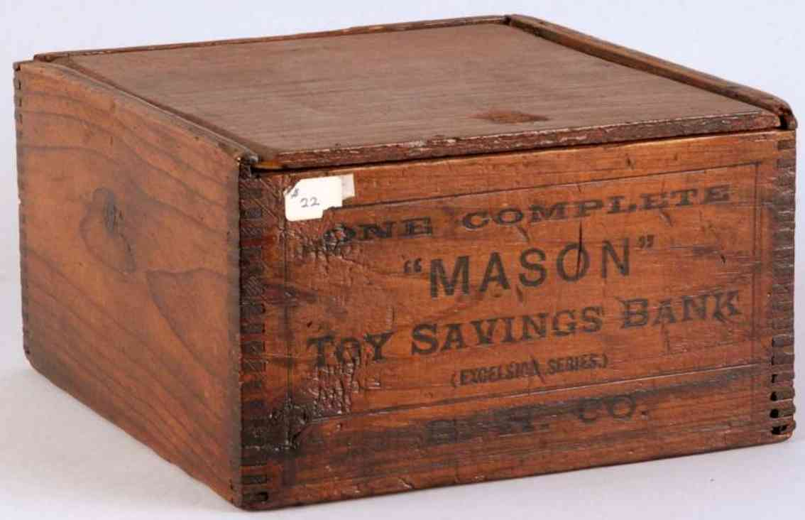 Shepard Hardware Co. Wooden Mason Toy savings bank