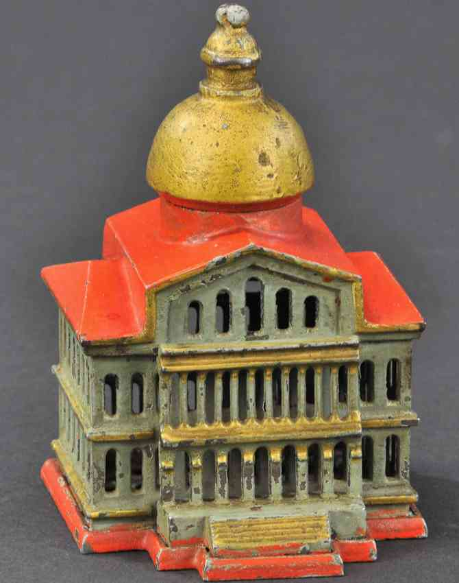 smith & egge cast iron toy boston state house still bank green red