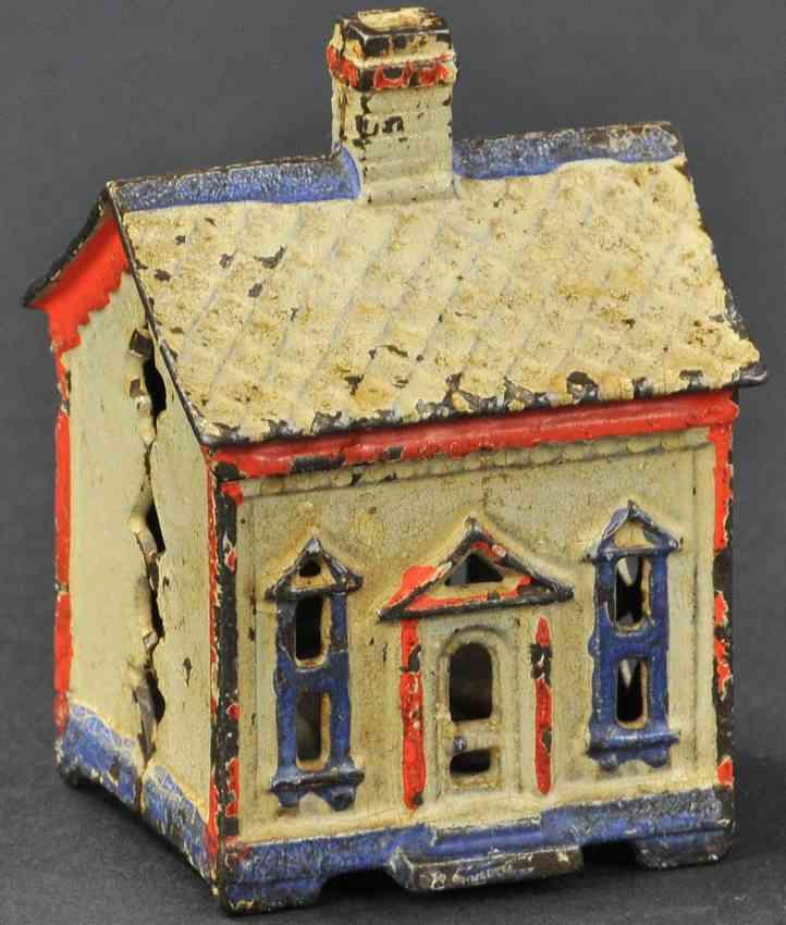 stevens co j & e 101 cast iron toy one story house still bank white red blue