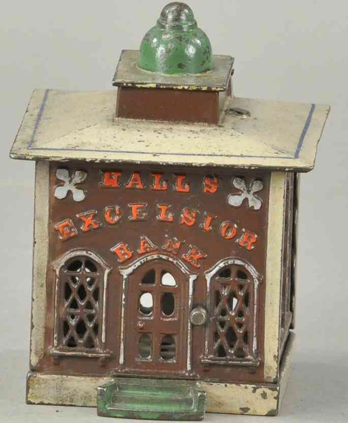 stevens co j & e 108 cast iron toy hall's excelsior cashier bank brown beige green