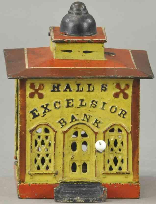 stevens co j & e 108 cast iron toy halls excelsior cashier bank yellow