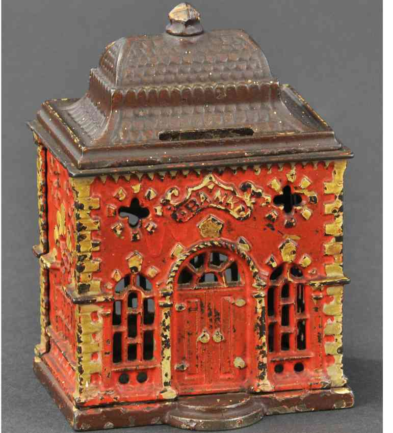 stevens co j & e 114 cast iron toy home savings sitll bank red yellow brown
