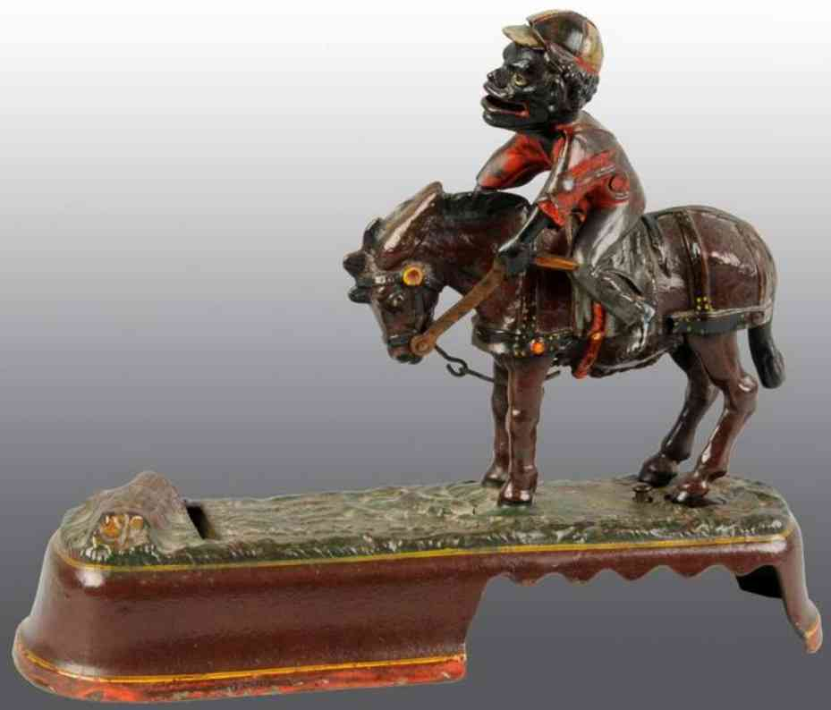 stevens co j & e 190 cast iron kicking mule bank jockey brown