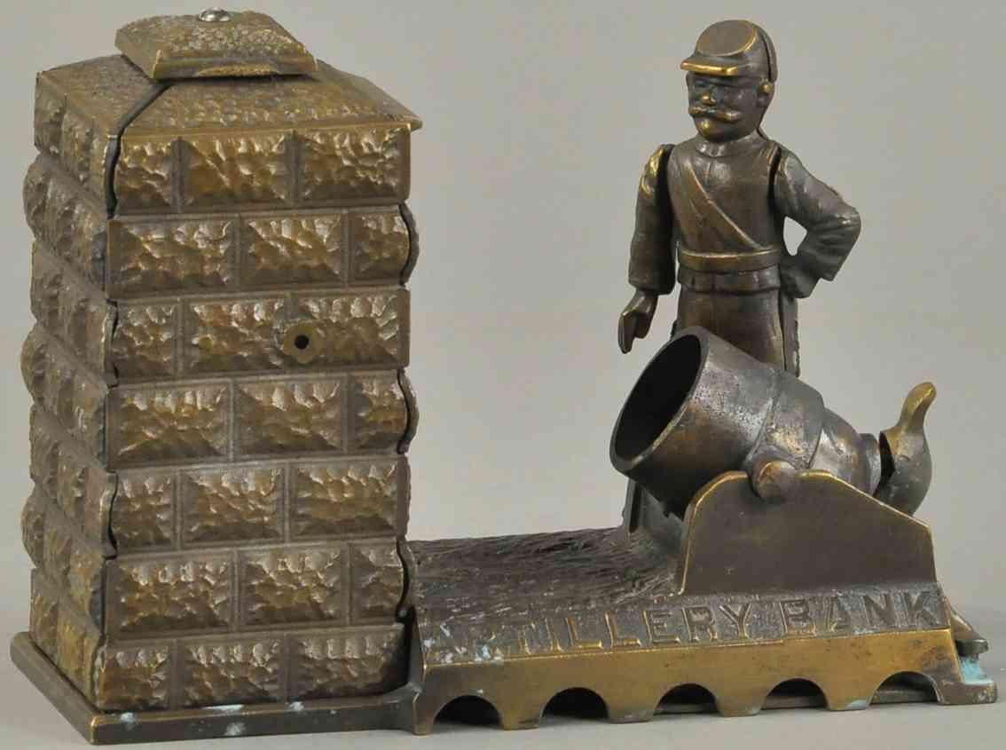 stevens co j & e 24 gusseisen soldat kanone spardose bronzemuster
