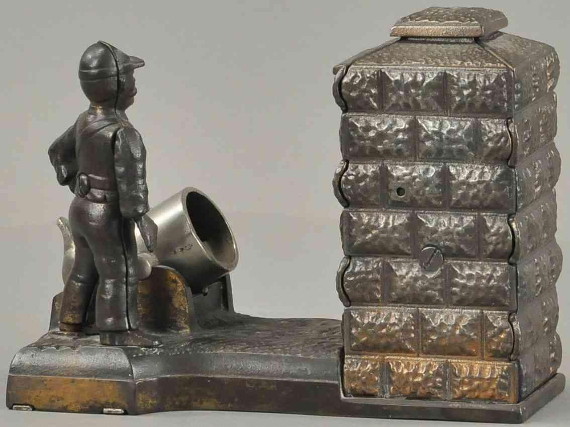 stevens co j & e 24 gusseisen soldat kanone spardose kupfern