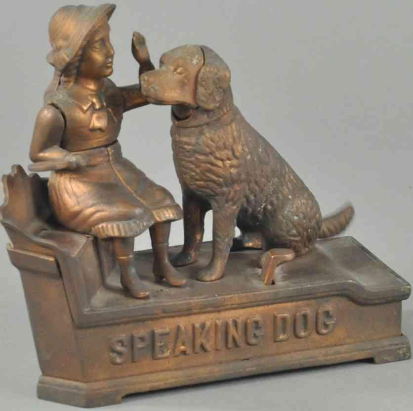 stevens & brown 330 brass spielzeug gusseisen sprechender hund als spardose messing