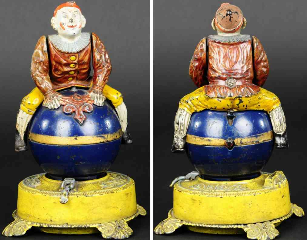 stevens co j & e 332 spielzeug gusseisen clown auf globus spardose gelber sockel