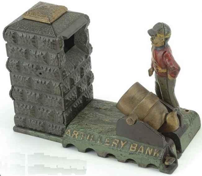 stevens co j & e 24 gusseisen soldat kanone spardose rot grau