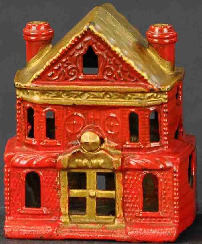 stevens co j & e spielzeug gusseisen viktorianisches haus als spardose rot gold