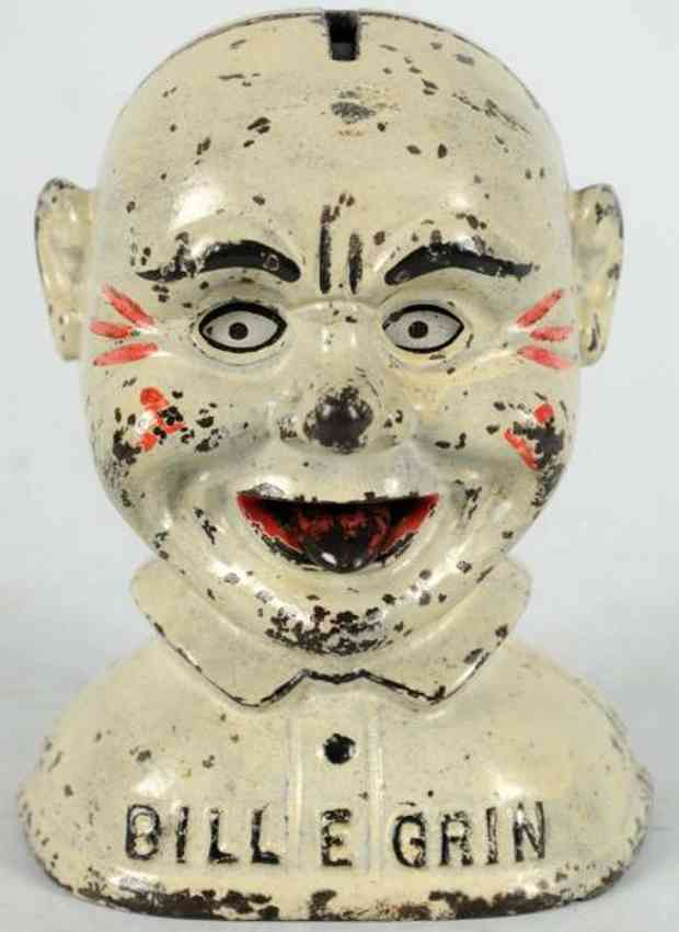stevens co j & e cast iron toy bill e grin mechanical bank