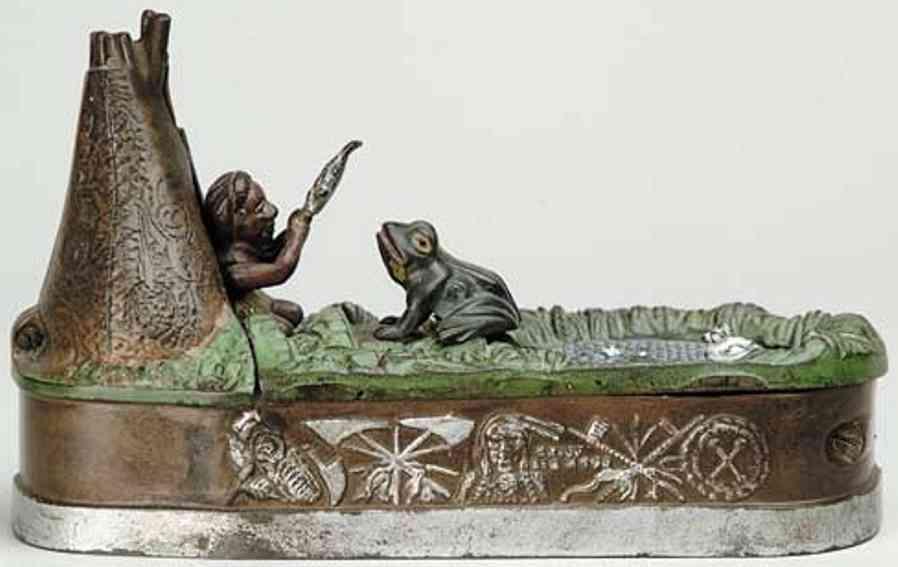 stevens co j & e 335 spielzeug gusseisen spardose indianer zelt frosch