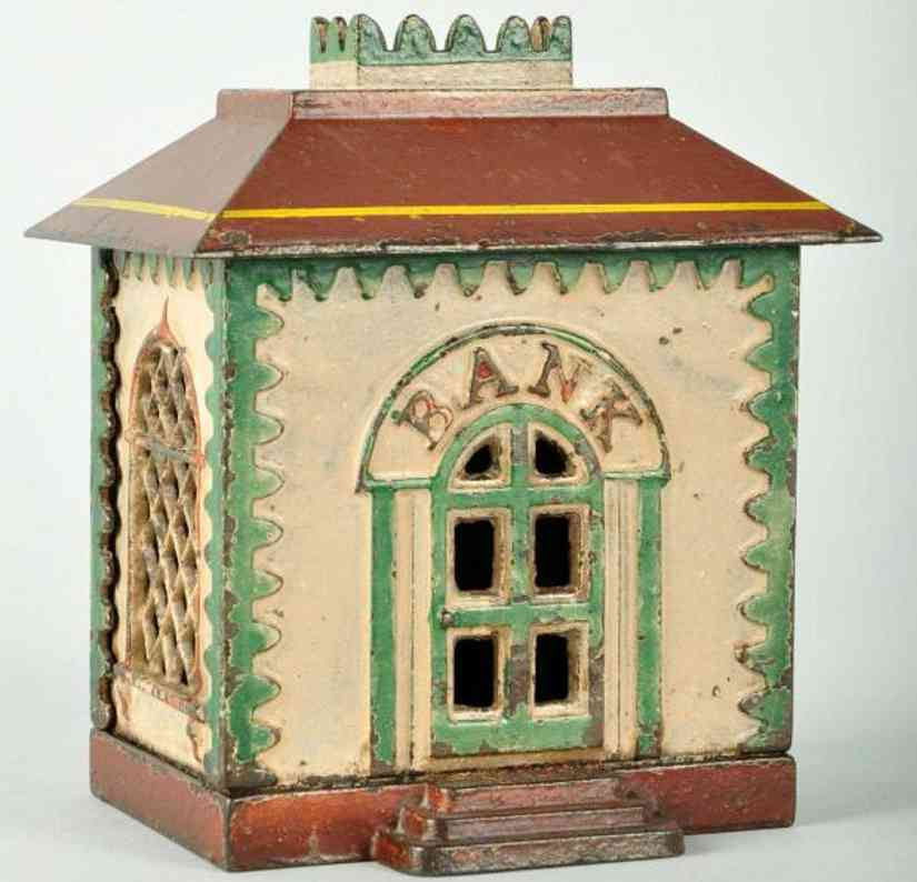 stevens co j & e cast iron toy home with crown still bank white brown green