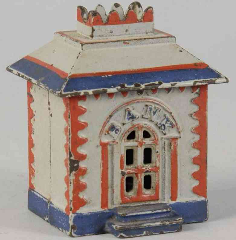 stevens co j & e crown bank cast iron toy crown home still bank white red blue