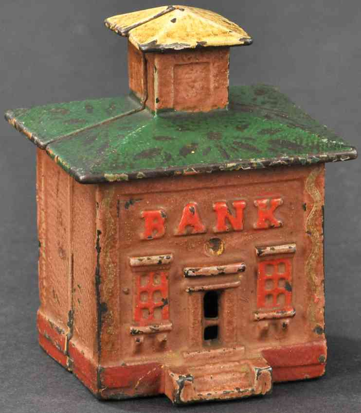 stevens co j & e cast iron toy cupola building still bank brown red green