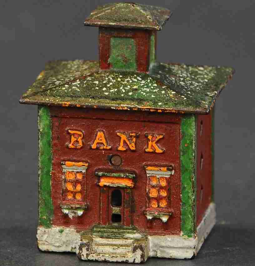 stevens co j & e cast iron toy cupola small building still bank brown green orange white