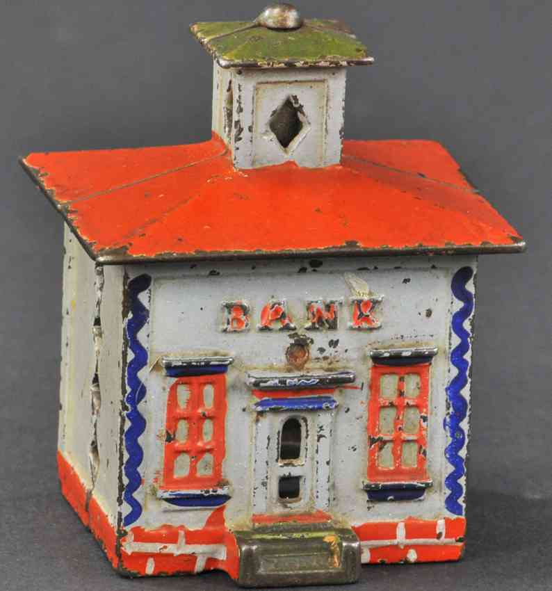 stevens co j & e cast iron toy cupola still bank grey red blue green