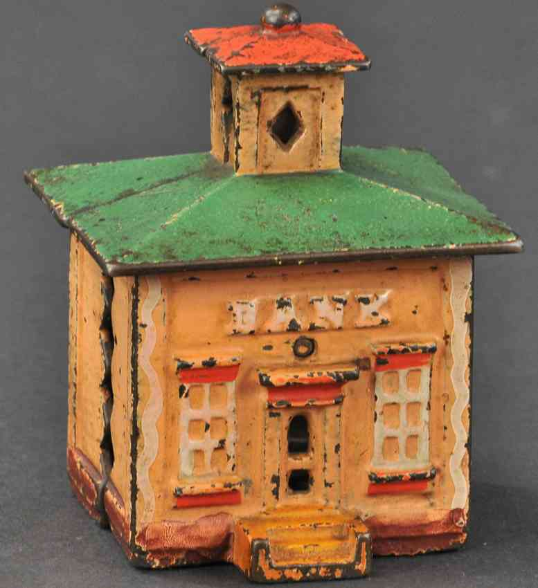 stevens co j & e cast iron toy medium cupola still bank orange green red