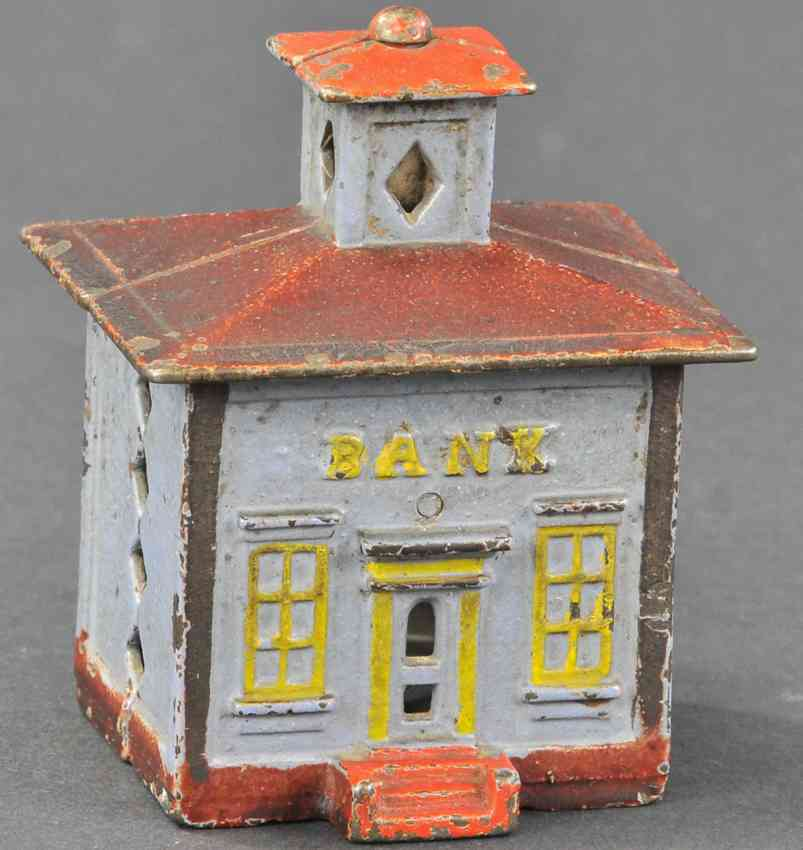 stevens co j & e cast iron toy painted cupola still bank gray yellow red