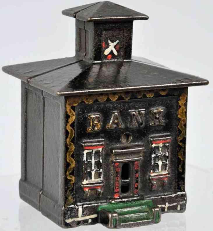 stevens co j & e cast iron toy small cupola still bank black