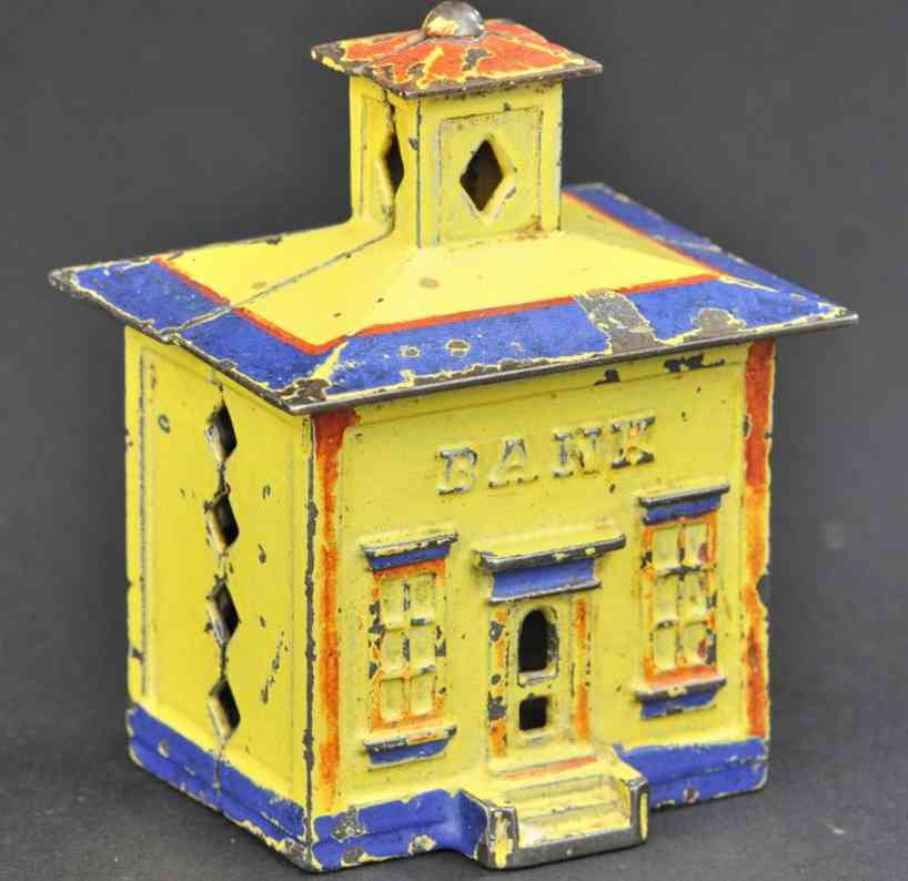 stevens co j & e cast iron toy cupola building still bank yellow red blue