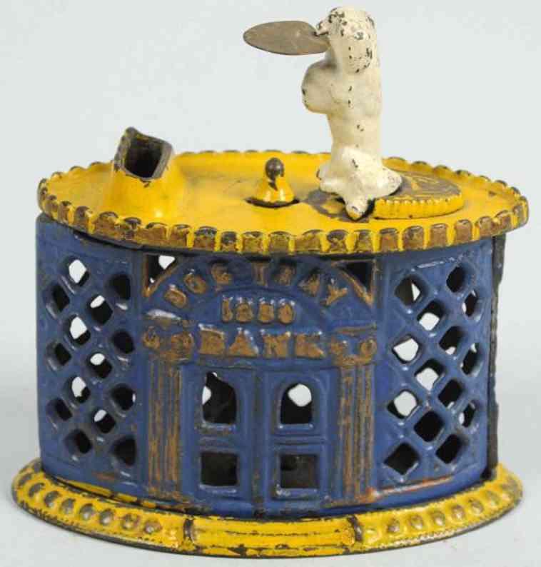 stevens co j & e cast iron toy dog with tray mechanical bank