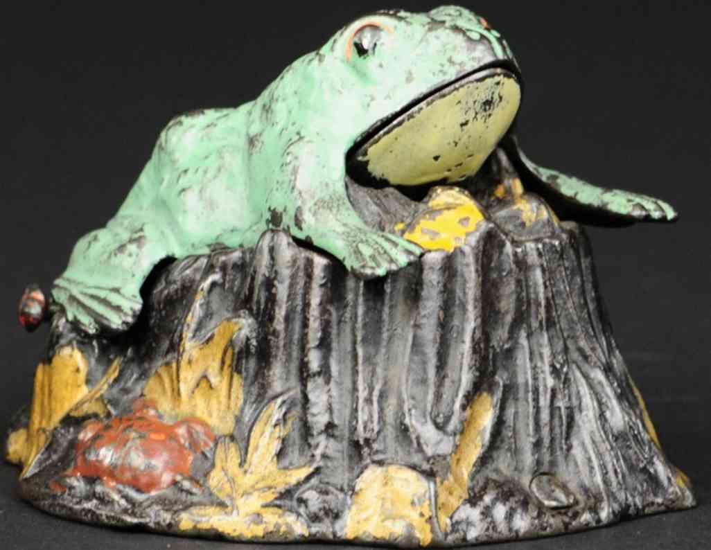 stevens co j & e gusseisen frosch kroete baumstumpf spardose