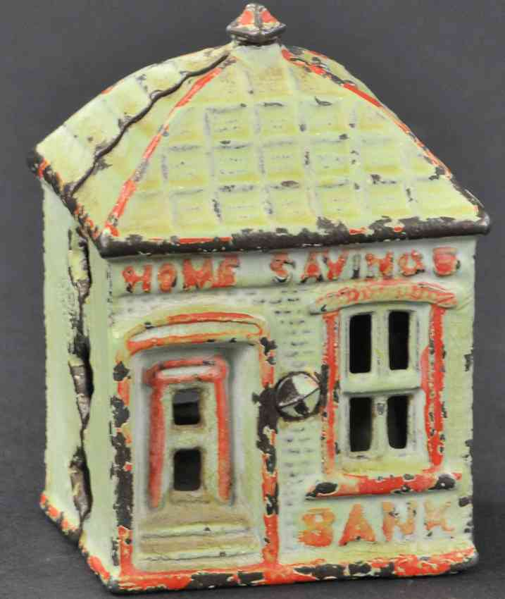 stevens co j & e cast iron toy home savings with finial still bank