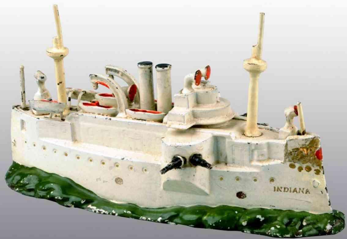 stevens co j & e gusseisen spardose kriegsschiff indiana