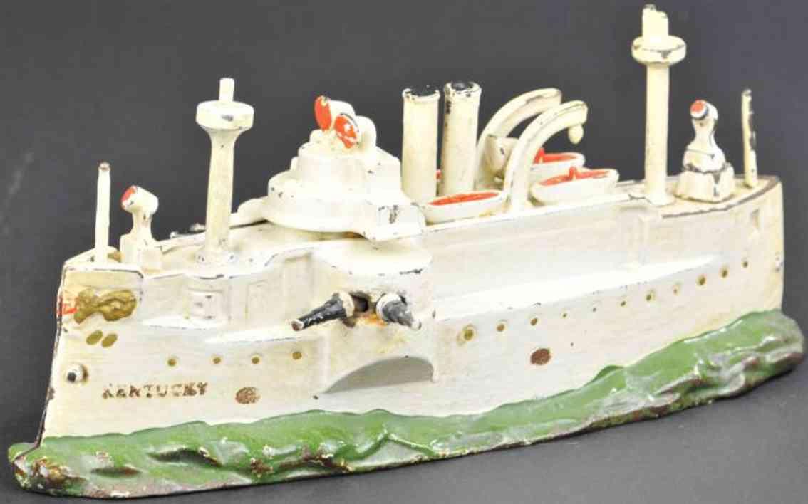 stevens co j & e cast iron toy kentucky battleship