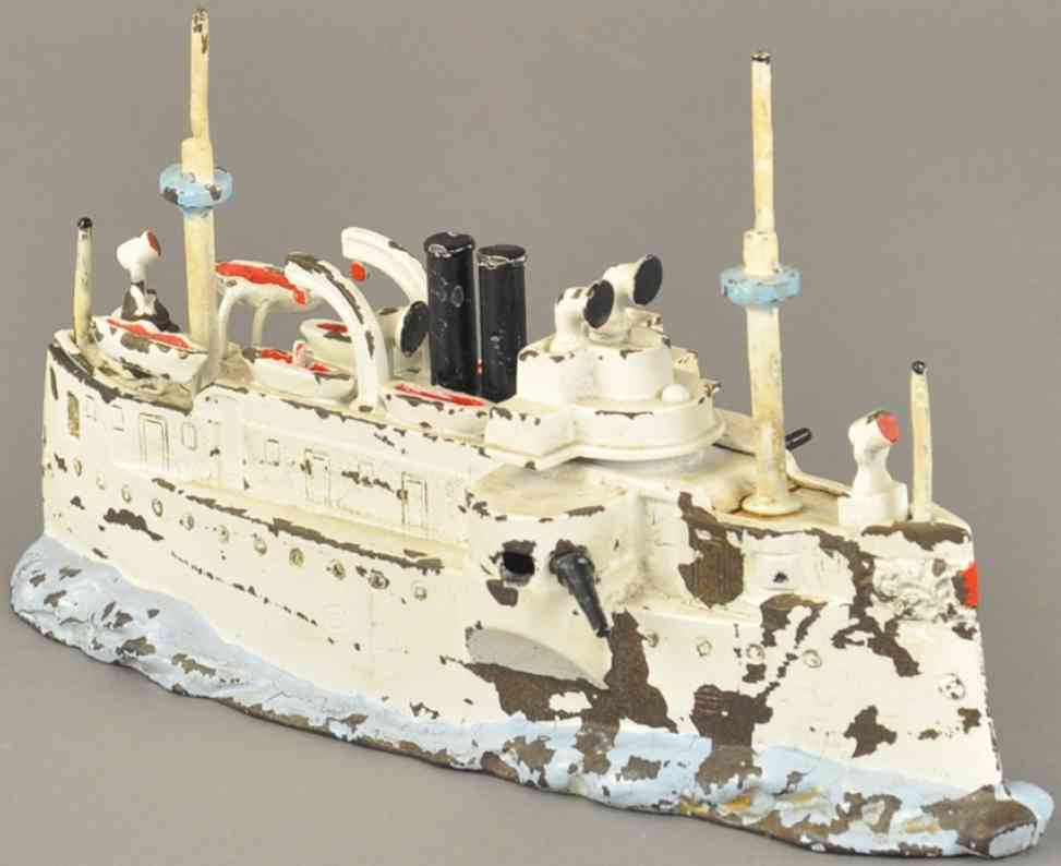 stevens co j & e cast iron toy battleship maine still bank
