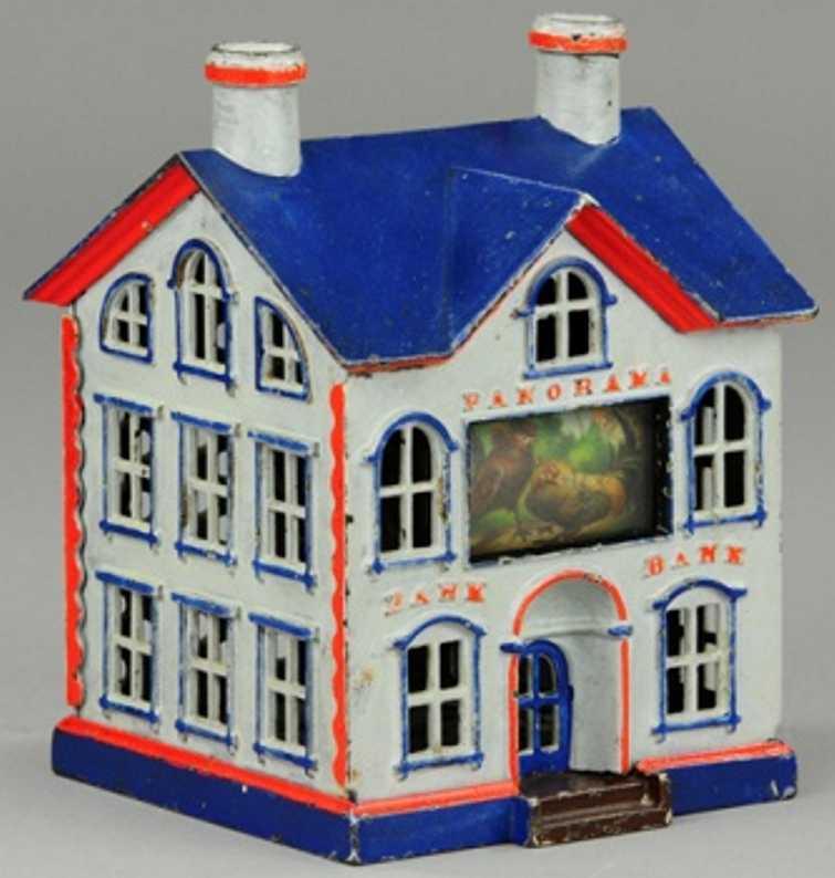 stevens co j & e cast iron toy panorama mechanical bank gray blue