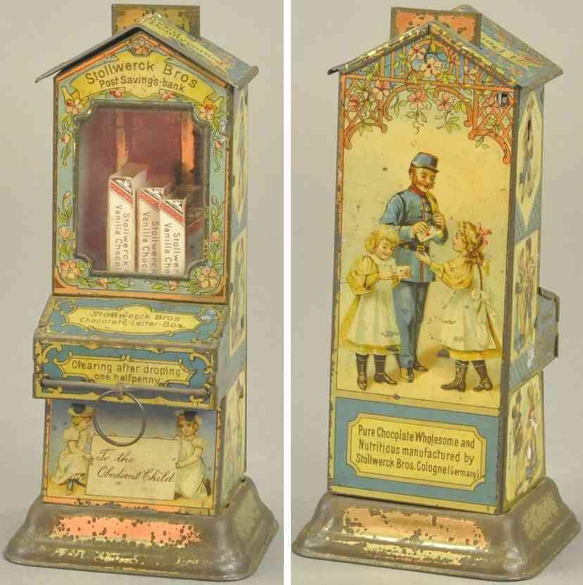 stollwerck blech spielzeug schokoladenautomat postbote