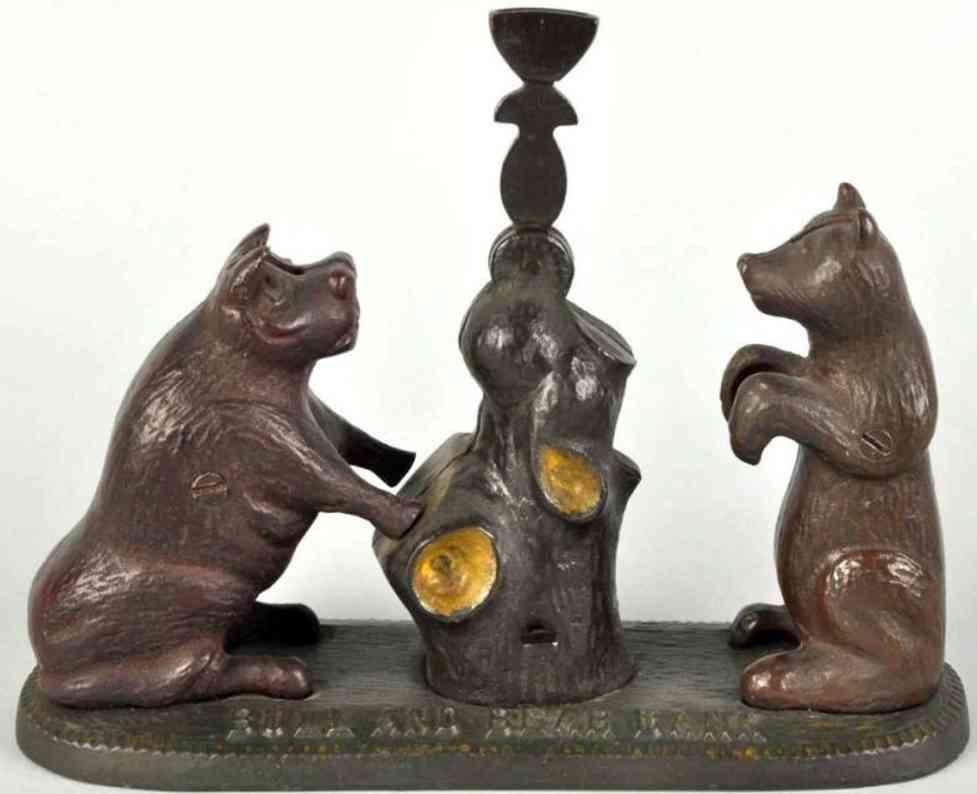 Cast iron bear and bear as mechanical bank