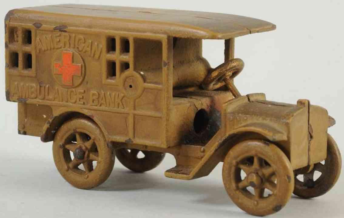 cast iron toy ambulance car as bank