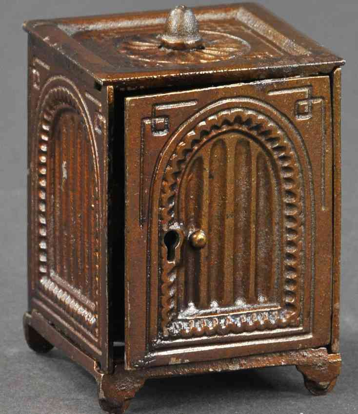 cast iron toy arched safe bank with finial