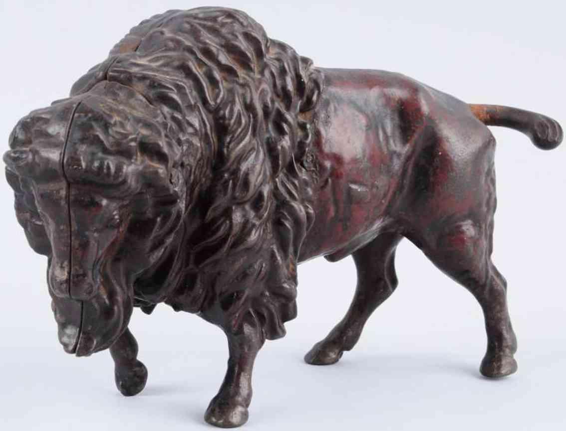 cast iron toy trick buffalo mechanical bank