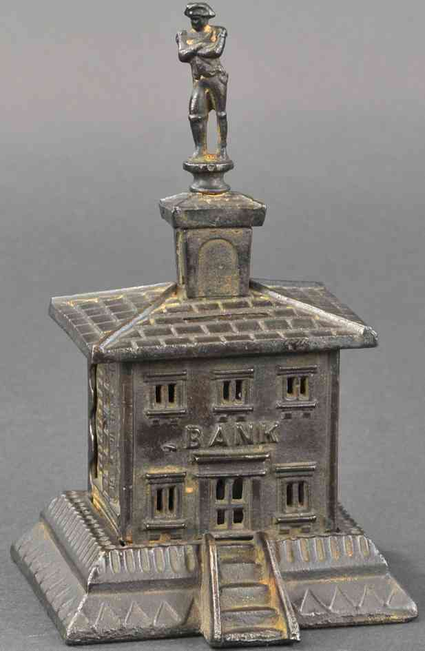 cast iron toy french building with soldier finial still bank
